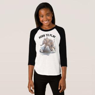Kids' Playful Elephant 3/4 Sleeve Raglan T-Shirt