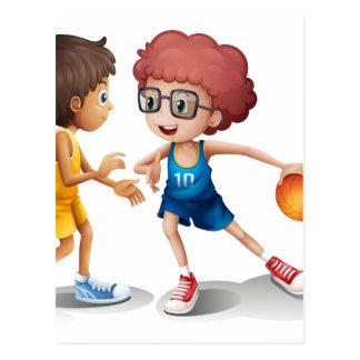Kids playing basketball postcard