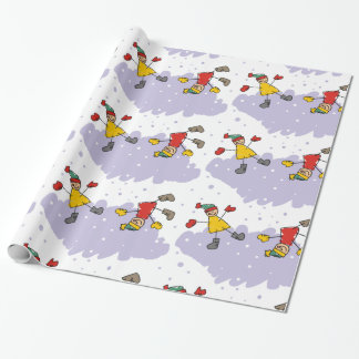 Kids Playing In Snow Wrapping Paper