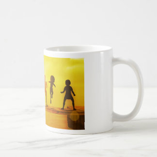 Kids Playing in the Summertime on a Pier Coffee Mug