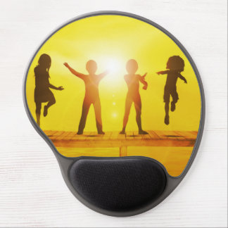 Kids Playing in the Summertime on a Pier Gel Mouse Pad