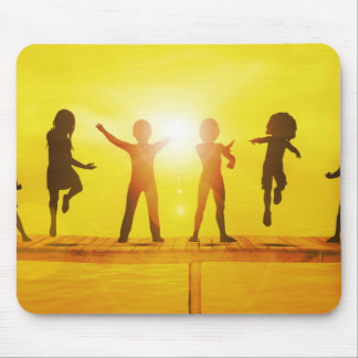 Kids Playing in the Summertime on a Pier Mouse Pad