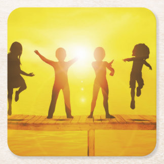 Kids Playing in the Summertime on a Pier Square Paper Coaster