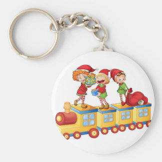 kids playing on train basic round button key ring