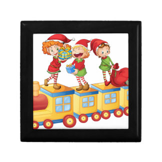 kids playing on train small square gift box
