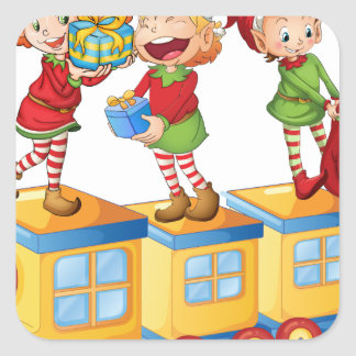 kids playing on train square sticker
