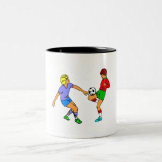 Kids Playing Soccer Coffee Mug