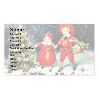 Kids playing with toys and christmas tree business card