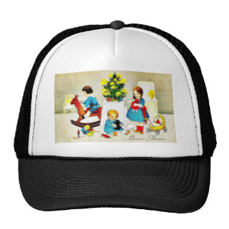 Kids playing with toys and christmas tree mesh hat