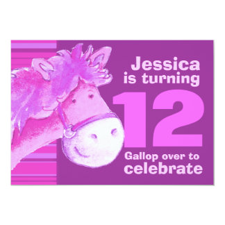 Kids pony treking 12 birthday purple pink invite