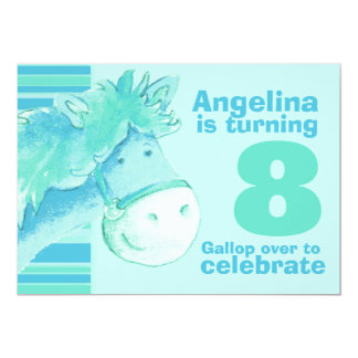 Kids pony treking 8 birthday aqua birthday invite