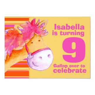 Kids pony treking 9th birthday birthday invite
