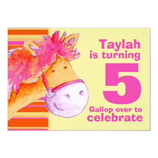 Kids pony trekking 5th birthday birthday invite