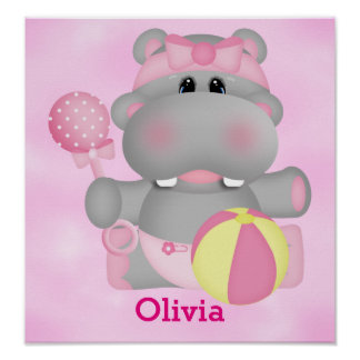 Kid's Poster Cute Baby Hippo