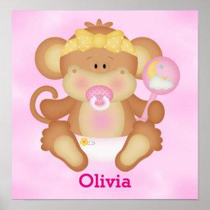kids poster cute baby monkey