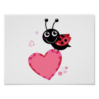 Kids poster with Lady bee character : red black