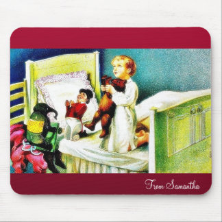 kids praying by kneelind down on the cot with toys mousepads