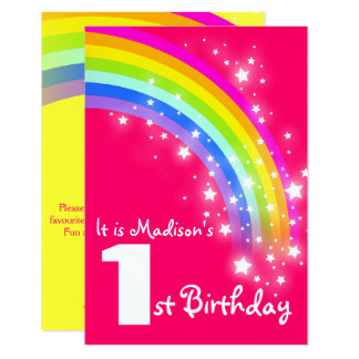 Kids purple rainbow 1st birthday invite
