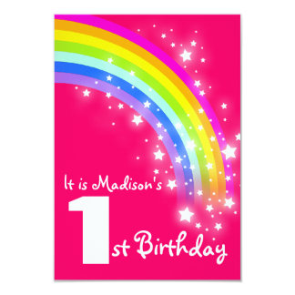 Kids purple rainbow 1st birthday invite