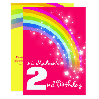 Kids purple rainbow 2nd birthday invite
