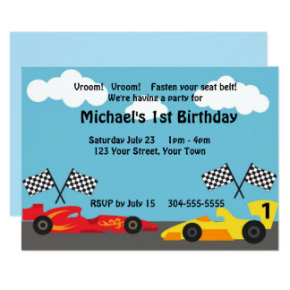 Kids Racing Birthday Party Card