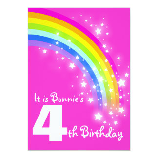 Kids rainbow 4th birthday pink birthday invite