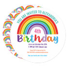 Kids Rainbow Birthday Party Colourful Pretty Girls Card