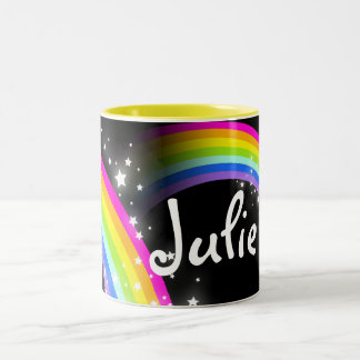Kids rainbow black custom name mug
