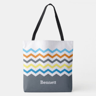 Kids Rainbow Chevron Colorful Pretty Personalized Tote Bag