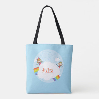 Kids Rainbow Cloud Blue Red Yellow Purple Bright Tote Bag