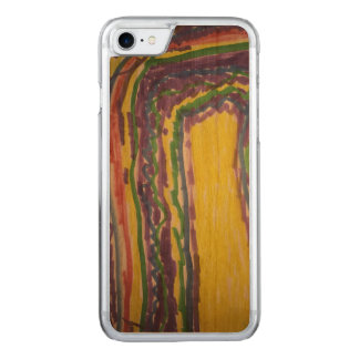 Kids rainbow drawing on wood iPhone 7 Case