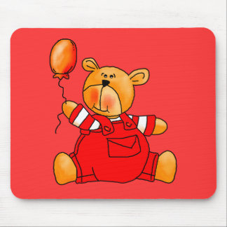Kid's Red Bear Balloons Mouse Pad