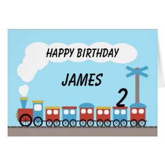 Kids Red Blue Train Birthday Card