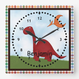 Kids' Red Dinosaur Wall Clock
