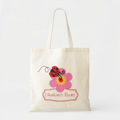 Kids red ladybug / ladybird flower library bag