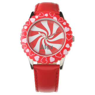 Kids Red & White Peppermint Swirl Candy Name Watch
