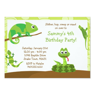 "Kids Reptile Birthday Party Invitation 5"" X 7"" Invitation Card"