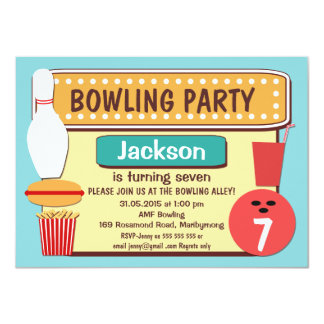 Kids Retro Bowling Birthday Party Invitation