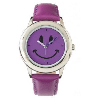 Kid's Retro Purple Happy Smiley Face Leather Watch