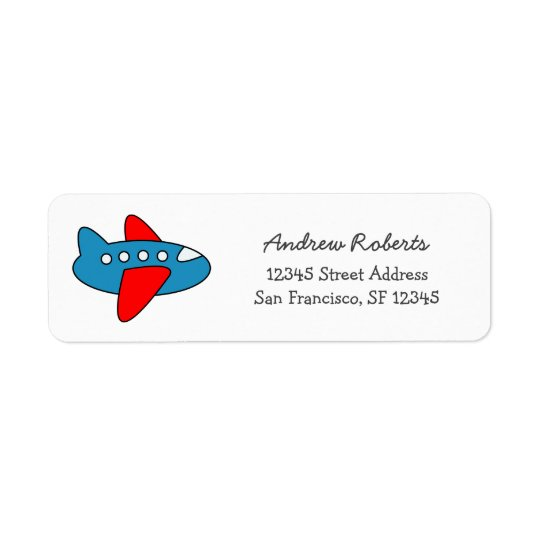 Kids return address labels with toy aeroplane