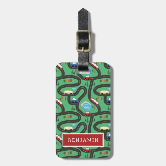 Kids Road Map - Red & Blue - Custom Name Luggage Tag