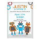 Kids Robot Birthday Party Invitations