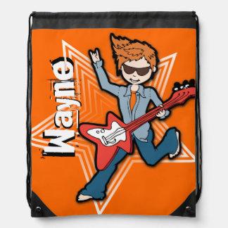 Kids rockstar name orange white drawstring bag