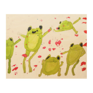 Kids room art cute frogs in watercolour