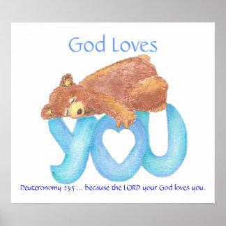 Kids Room Scripture, God Loves You, Teddy Bear Poster