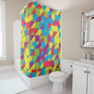 Kids Scribble Pattern Shower Curtain