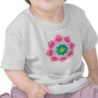 Kids Shirt Pink elephants Namaste Lotus Flower