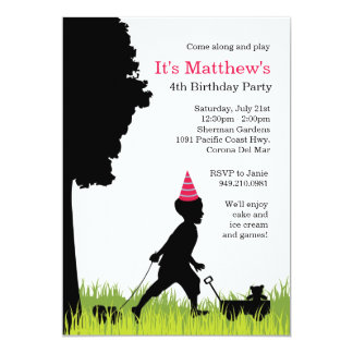 Kids Silhouette Birthday Party Invitation