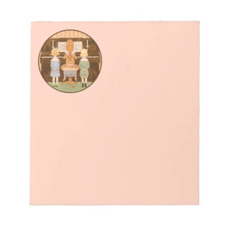 KIDS SINGING, VINTAGE PIANO MUSIC LESSON NOTEPAD