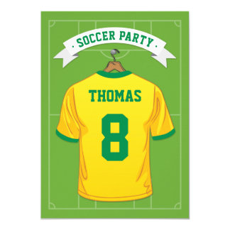 Kids Soccer Birthday Party | Brazil Jersey Card
